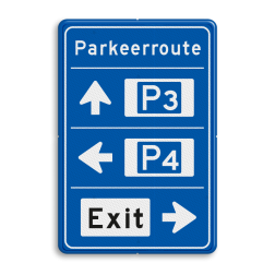 Bewegwijzering Parkeerroute 3 richtingen - rechthoekig 2:3 Wit / blauwe rand, (RAL 5017 - blauw), BEW201, Theater hangaar