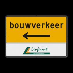 Routebord rechthoek bouwverkeer + logo Tekstbord, gevaar, J37 , nijhuis
