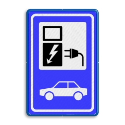 Verkeersbord Oplaadpunt elektrische auto Verkeersbord RVV BW101_SP19 - auto laadpunt - BE02 BE02 Elektrische, groene stroom, BW101, oplaadpunt, auto laden, autolaadpunt, laadpaal, oplaadpalen, Oplaadpaal, BE04