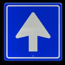 Verkeersbord Eenrichtingsweg Verkeersbord 180x180mm VLAK-Dibont RVV C03 rijrichting, eenrichting, bord met pijl, vierkant bord met pijl, blauw bord met pijl, c3