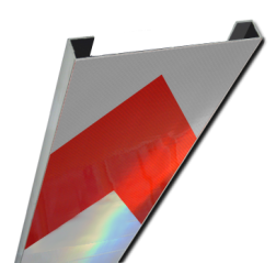 Schrikhekplank 3000mm lang C-profiel pijlmotief. RVV BB18-1r hekplank, schrikhek, rood, witte, planken, schrikplank, afzethek, blokken, RVV BB15-2, BB15