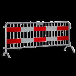 Dranghek 19 spijlen met vol reflecterende panelen klasse III rood/wit geledebaak, baken, hek, afzethek, planken, afzetmateriaal