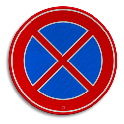 Verkeersbord Verbod stil te staan Verkeersbord RVV E02 - Verbod stil te staan E02 niet parkeren, niet stil staan, E2, stopverbod, stilstaan verboden, Parkeerverbod