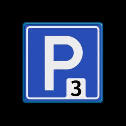 Verkeersbord Parkeerroute Verkeersbord RVV E04_nummer parkeerplaats, parkeerplek, routebord, bord met pijl, BW201