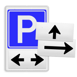 Parkeerbord Parkeren + eigen tekst Parkeerbord RVV E04 + magneetborden parkeerbord, eigen terrein, fluor, geel, RVV E04, parkeren,  vrij invoerbare tekst, E4
