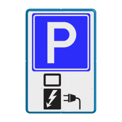 Verkeersbord Parkeren voor opladen elektrische autos Verkeersbord RVV E04 + OB19 BE04a Parkeerbord, parkeerplaats, eigen plaats, parkeren, RVV E04, p bord, BW101 SP19 - autolaadpunt, autolaadpunt, oplaadpalen, oplaadpaal, BE04, elektrisch, Opladen, Laadpaal