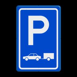 Verkeersbord Parkeerplaats auto's. Parkeergelegenheid alleen bestemd voor voertuigcategorie, of groep voertuigen, die op het bord is aangegeven Verkeersbord RVV E08 - Parkeerplaats auto's met aanhanger E08 parkeerplek, auto, parkeerplaats, E8