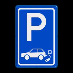 Verkeersbord elektrische auto stoep, parkeerplek, parkeerplaats, auto, electrisch, E8, laadpaal, laadpunt