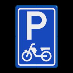 Verkeersbord Parkeerplaats brommers en scooters. Parkeergelegenheid alleen bestemd voor voertuigcategorie, of groep voertuigen, die op het bord is aangegeven Verkeersbord RVV E08e - Parkeerplaats bromfietsen en scooters E08e bromfiets, scooter, parkeerplek, parkeerplaats, E8, E8e
