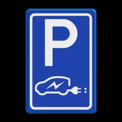 Verkeersbord Parkeergelegenheid alleen bestemd voor voertuigcategorie, of groep voertuigen, die op het bord is aangegeven Verkeersbord E08 elektrische auto - Aliander stoep, parkeerplek, parkeerplaats, auto, electrisch, E8