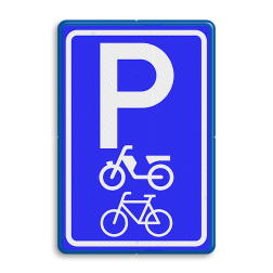 Verkeersbord Parkeerplaats fietsen en brommers. Parkeergelegenheid alleen bestemd voor voertuigcategorie, of groep voertuigen, die op het bord is aangegeven Verkeersbord RVV E08g - Parkeerplaats fietsen en brommers E08g parkeerplek, parkeerplaats, stalling, brommer, scooter, fiets, E8, E8g
