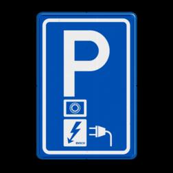 Parkeerbord Parkeerplaats met oplaad punt - Parkeergelegenheid alleen bestemd voor elektrische voertuigen Parkeerbord RVV E08o - oplaadpunt - EV-Box - BE04a BW101 SP19 - autolaadpunt, autolaadpunt, oplaadpalen, oplaadpaal, BE04, elektrisch, Opladen, Laadpaal