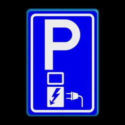 Verkeersbord Parkeerplaats met oplaad punt - Parkeergelegenheid alleen bestemd voor elektrische voertuigen Verkeersbord RVV E08o - oplaadpunt - BE04a E08o BW101 SP19 - autolaadpunt, autolaadpunt, oplaadpalen, oplaadpaal, BE04, elektrische, BW101, laadpunt, oplaadpunt, laadpaal, oplaadpalen, oplaadbaar