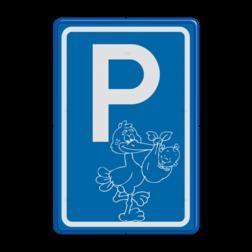 Logobord [P] ooievaar, boy baby geboren, jongen, blauw bord, ooievaar, parkeren, geboorte
