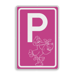 Logobord [P] ooievaar, girl baby geboren, meisje, roze bord, ooievaar, speciale borden, parkeren, geboorte