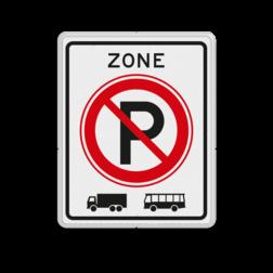 Verkeersbord ZONE parkeerverbod voor vrachtautos en bussen. Autobus is : motorvoertuig, ingericht voor het vervoer van meer dan acht personen, de bestuurder daaronder niet begrepen Vrachtauto is : motorvoertuig, niet ingericht voor het vervoer van personen, waarvan de toegestane maximum massa meer bedraagt dan 3500 kg Verkeersbord RVV E201zb vrachtautos verboden, niet parkeren, geen bussen, zone, vrachtwagens, E201