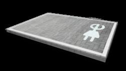 Markering - wegenverf - logo E-stekker MIVA, minder, valide, E06, markering, weg, grond, opladen, oplaad, elektrisch, parkeren, wegenverf, thermoplast, parkeervak, belijning, symbool, pictogram, markeer, terrein, vloer, parkeergarage, garage