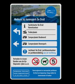 Entree - routebord Jachthaven in huisstijl rabobank, eigen tekst, eigen terrein, E4