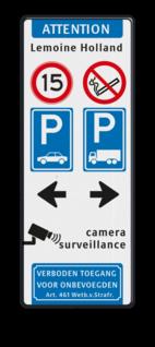 Verkeersbord 800x2000x28mm met 4 verkeerstekens + pictogrammen Wit / groene rand, (RAL 6024 - groen), Eigen terrein, V.v.E. 't Hol, A01-10, C07, C20-vrij invoerbaar, E01, parkeren alleen, in de vakken, Wielklem + txt, Verboden toegang