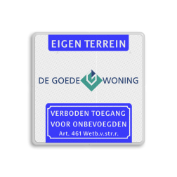 Verkeersbord Koptekst - LOGO - VT461 Wit / witte rand, (RAL 9016 - wit), Eigen terrein, , Verboden toegang
