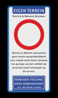Verkeersbord bij speciale gelegenheid als cadeau aangeboden. Verkeersbord ET-txt-C01-txt-VT461 parkeerbord, logo, verboden toegang, engelse tekst, eigen terrein, parkeerverbod, wegsleepregeling, speciale borden, camera, A1