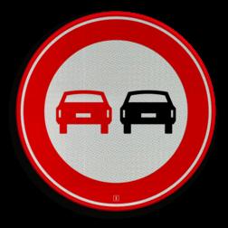 Product Verbod voor motorvoertuigen om elkaar onderling in te halen Verkeersteken RVV F01 verboden in te halen, niet inhalen, auto's, verbodsbord, F1