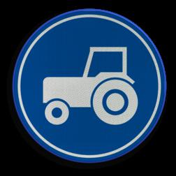 Verkeersbord ** NIEUW RVV - GELDIG vanaf 01-01-2017 ** Verplicht gebruik passeerstrook, uitsluitend bestemd voor motorvoertuigen die niet sneller kunnen of mogen rijden dan 25 km/h. Verkeersbord RVV F11 - Passeerstrook langzaam verkeer F11 nieuw, tractor, trekker