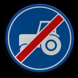 Verkeersbord ** NIEUW RVV - GELDIG vanaf 01-01-2017 ** Einde verplicht gebruik passeerstrook, uitsluitend bestemd voor motorvoertuigen die niet sneller kunnen of mogen rijden dan 25 km/h. Verkeersbord RVV F12 - Einde passeerstrook langzaam verkeer F12 tractor, trekker , passeerstrook, inhaalstrook