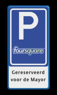 Verkeersbord RVV E08 LOGO / foursquare parkeerplaats voor trainers, leraren, meester