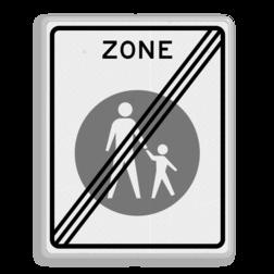 Verkeersbord Einde voetgangerszone Verkeersbord RVV G07ze - Einde voetgangerszone G07ze zone, voetgangers, wandelpad, G7, G7zb, einde zone