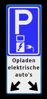 Verkeersbord parkeren elektrische auto's + pijlen - BE04e BE04e E08o - oplaadpunt -, Opladen, elektrische, voertuigen, Pijlen links - rechts - omlaag, Parkeerbord, parkeerplaats, eigen plaats, parkeren, RVV E04, p bord, BW101 SP19 - autolaadpunt, autolaadpunt, oplaadpalen, oplaadpaal, BE04, elektrisch, Opladen, Laadpaal