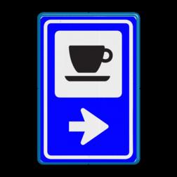 Bewegwijzering Routebord Horeca  BW101 + pijlfiguratie Wit / blauwe rand, (RAL 5017 - blauw), BEW101 pijl rechts, Boerencamping