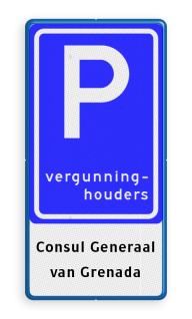 Verkeersbord Parkeerplaats vergunninghouders. Parkeergelegenheid voor vergunninghouders + eventuele toelichting. Verkeersbord RVV E09 - Parkeerplaats vergunninghouders + tekst - BT18 E09-OB308 E9, BT18, Vergunning, Vergunninghouders