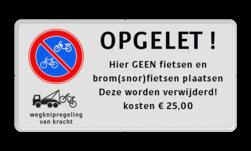 Parkeerplaatsbord E03 + wegknipregeling en eigen tekst Wit / witte rand, (RAL 9016 - wit), E01,  Wegsleepregeling van kracht, uitgezonderd, Arts