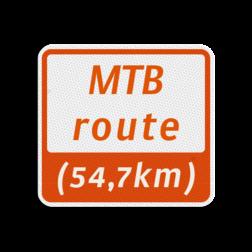 Mountainbikeroutebord 119x109mm met tekst - klasse 3 119x109, Mountainbikeroute, Route, Mountainbike, huisnummerpaal, MTB, MTB-route, ATB, ATB-route