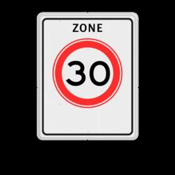 Verkeersbord Zone maximum toegestane snelheid 30 kilometer per uur, geldig tot einde zone. Verkeersbord RVV A01-xxx zb - Begin zone maximum snelheid A01-030zb snelhiedsbord, snelheidbord, 30 km bord, snelheid, zonebord, A1, zone, maximumsnelheid, maximum snelheid, maximalesnelheid, maximale snelheid
