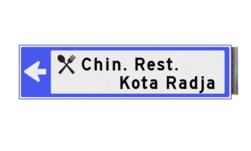 Bewegwijzeringsbord - ENKELZIJDIG LINKS - 800x200x15mm blauw/wit 2 regelig en pijl dubbelzijdig, verwijs, pijlbord