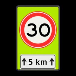 Verkeersbord RVV A01-xxf - OB401-xxx A01-30, Onderbord OB411 - afstand, snelheidsbord, maximumsnelheid, maximum snelheid, maximalesnelheid, maximale snelheid