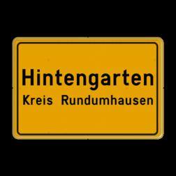Verkehrsschild Ort- und Kreisnahme - gelb/schwarz Fluor geel / gele rand, (RAL 1023 - geel), Hier uw eigen, tekstregels, klik op bewerken >