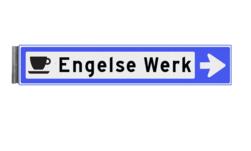 Bewegwijzeringsbord - ENKELZIJDIG RECHTS - 800x150x15mm blauw/wit 1 regelig en pijl dubbelzijdig, verwijs, pijlbord