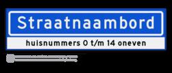Straatnaambord KOKER 80x20cm - max. 14 karakters - met nummer verwijzing - NEN1772 straat, straatnaamborden, naambord, straatbord, kokerbord, NEN, officieel, wegnaam, sign, street, 800, 80, huis, nummer, verwijzing