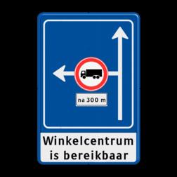 Verkeersbord Rechtsaf afgesloten voor vrachtverkeer Verkeersbord RVV L10-02l + onderbord + ondertekst Vooraanduiding, voorwaarschuwing, verkeersregel, verboden voor vrachtwagens