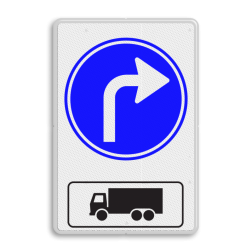 Routebord Route voor vrachtwagens Routebord RVV D05r + picto - BT15r BT15r eigen terrein, vrachtwagen, richting, D05l, D05r, D05, OB11, rechtsaf