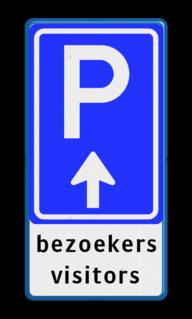 Parkeerroute BW201 met eigen tekst Wit / blauwe rand, (RAL 5017 - blauw), BW201 - pijl rechtdoor, visitors