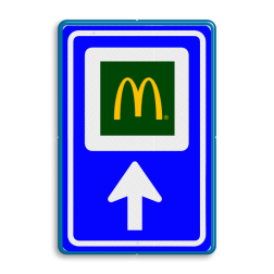 Bewegwijzering LOGO  BW101 + pijlfiguratie Wit / blauwe rand, (RAL 5017 - blauw), BEW101 pijl rechts, Boerencamping