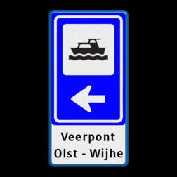 Bewegwijzering Watersport + tekst | BW101 + pijlfiguratie Wit / blauwe rand, (RAL 5017 - blauw), BEW101 rotonde links, Bungalow, Bungalopark, De Walnoot