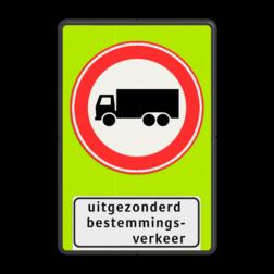 Verkeersbord Gesloten voor vrachtverkeer uitgezonderd bestemmingsverkeer Vrachtauto is : motorvoertuig, niet ingericht voor het vervoer van personen, waarvan de toegestane maximum massa meer bedraagt dan 3500 kg Verkeersbord RVV C07f - OB108 - Gesloten voor vrachtverkeer met uitzondering - fluor achtergrond C07 Fluor geel-groen, C07, Onderbord OB108 - uitgezonderd bestemmingsverkeer, verboden voor vrachtauto's, vrachtwagens, gesloten verklaring