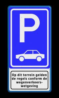 Verkeersbord Parkeergelegenheid alleen bestemd voor voertuigcategorie, of groep voertuigen, die op het bord is aangegeven Verkeersbord RVV E08 + pictogram - Parkeerplaats auto's. E8, E08, parkeren, auto, auto's, parkeerplaats, parkeerplek