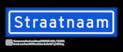 Straatnaambord KOKER 60x15cm - max. 10 karakters - NEN1772 straat, straatnaamborden, naambord, straatbord, kokerbord, NEN, officieel, wegnaam, sign, street, 600, 60