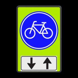 Verkeersbord Verplicht fietspad, u kunt tegenliggers verwachten Verkeersbord RVV G11 - OB505 - Verplicht fietspad met tegenliggers - fluor achtergrond G11-OB505 Fluor geel-groen, G11, Onderbord OB505 pijlen omhoog - omlaag, Verplicht fietspad, tegenovergesteld verkeer, tegenliggers